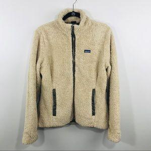 Patagonia Size L Beige Deep Pile Full Zip Jacket